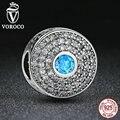 Voroco venda hot genuine 925 sterling silver blue pedra clara cz rodada encantos fit pandora bracelet mulheres moda jóias c028