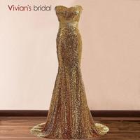 Vivian S Bridal Sequin Evening Dresses Long 2017 Gold Royal Blue Mermaid Evening Gowns Robe De