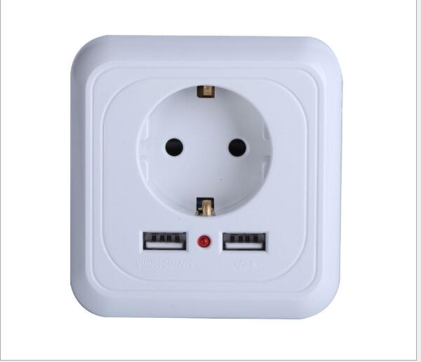 new 10 pieces Wall Power Socket <font><b>250</b></font> <font><b>V</b></font> <font><b>16A</b></font> EU Standard Outlet With 2.4 A Dual USB Charger Port for Mobile image