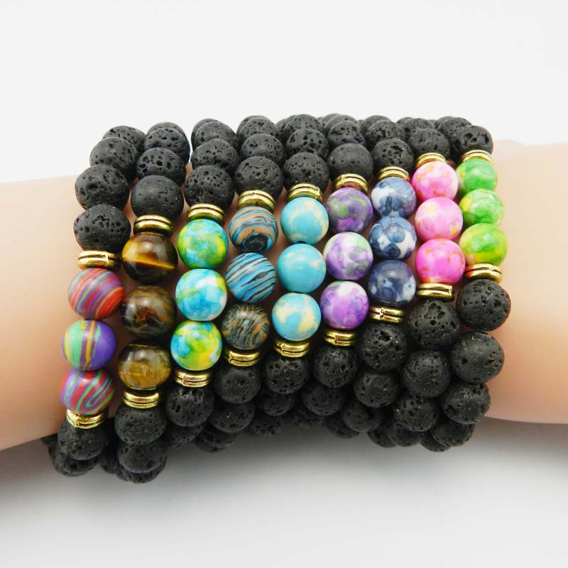 New Design High Quality Black Lava Stone Jewelry Sea Sediment Imperial Beads Stretch Energy Yoga Gift