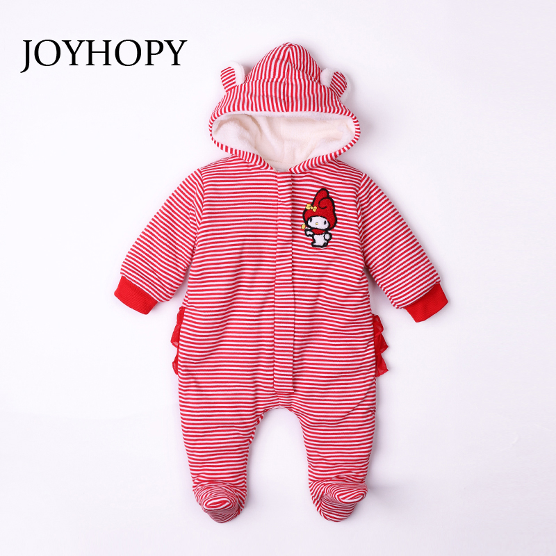 JOYHOPY Coral velvet Baby Rompers Winter Thick Warm Baby Clothing Newborn Baby Girl Boy Romper