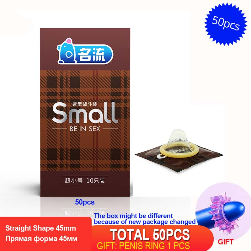 PERSONAGE 50PCS 45mm Small Latex Condoms For Men Mingliu Ultra-small Thin Durable Condoms Penis Cock Sleeve Intimate Sex Toys