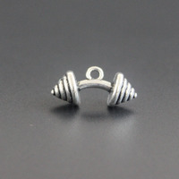 50pcs Antique Silver Small Dumbbell Charm Pendant Personalized For DIY Necklace Jewelry Making Findings