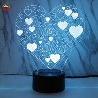7 Color Change LED Light USB 3D Luminaria Love Heart Night Light Lamp For Usb Laptop