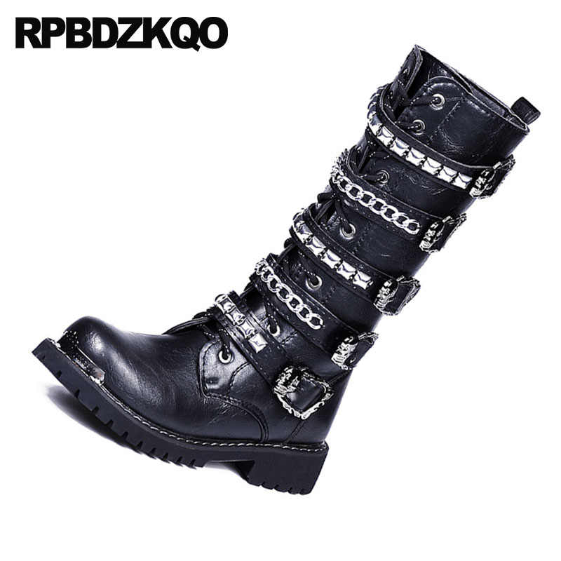 6ab71a7ad2c rock metalic luxury combat motorcycle black chunky stud mid calf rivet  military shoes punk mens leather tall boots high quality
