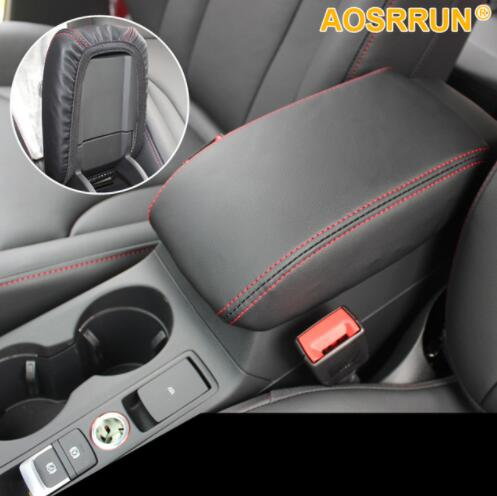 Car-styling Black RED PU Leather Car Armrest Box Cover Car Accessories Fit For Audi Q2 2016 2017 2018
