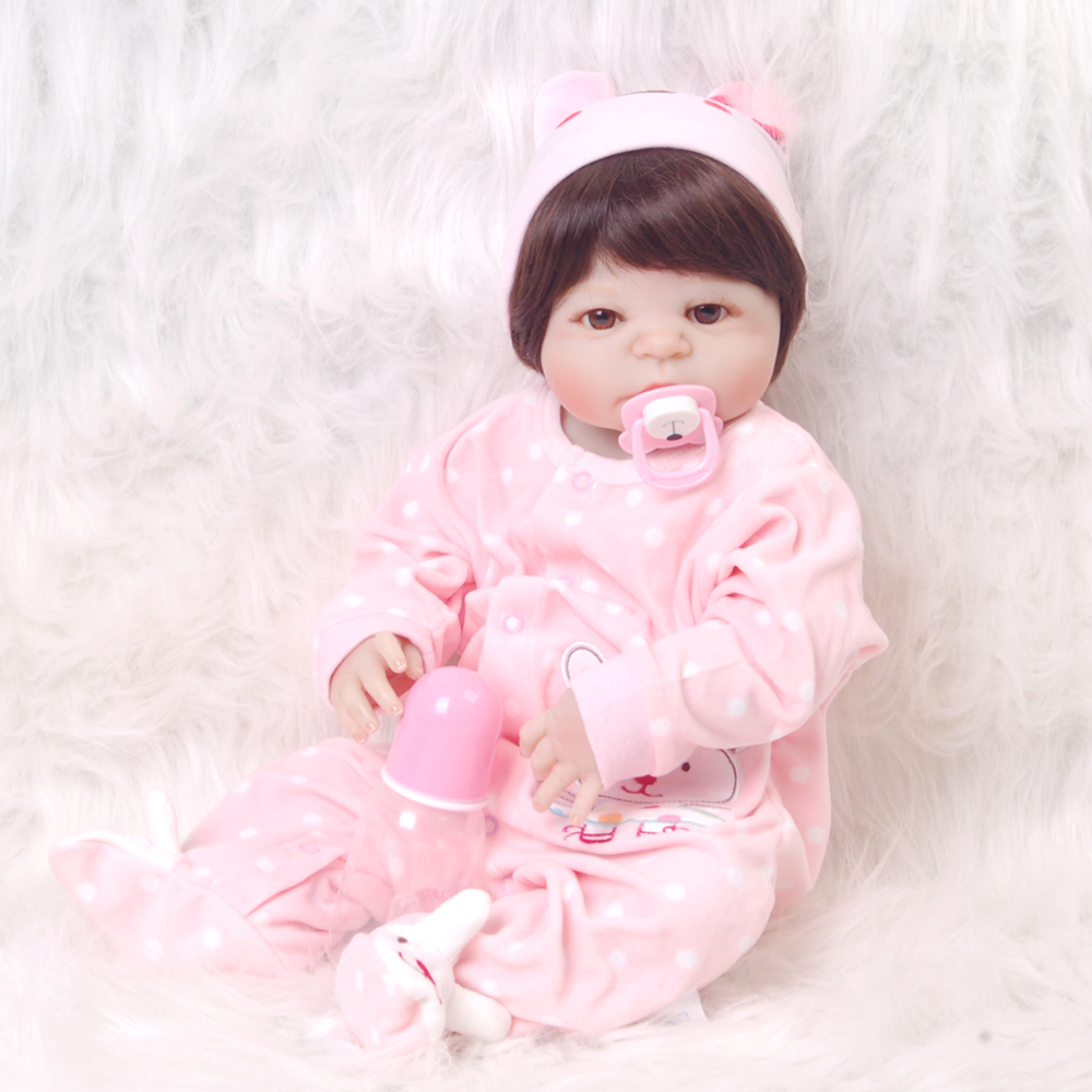 Lifelike 23 Inch Reborn Boneca 57 Cm Full Silicone Vinyl Newborn Girl Babies Fashion Realistic Baby Toy For Toddler Kids Gift cute truly newborn doll 23 inch fashion baby toy realistic full vinyl silicone babies doll handmade gift for girl reborn boneca