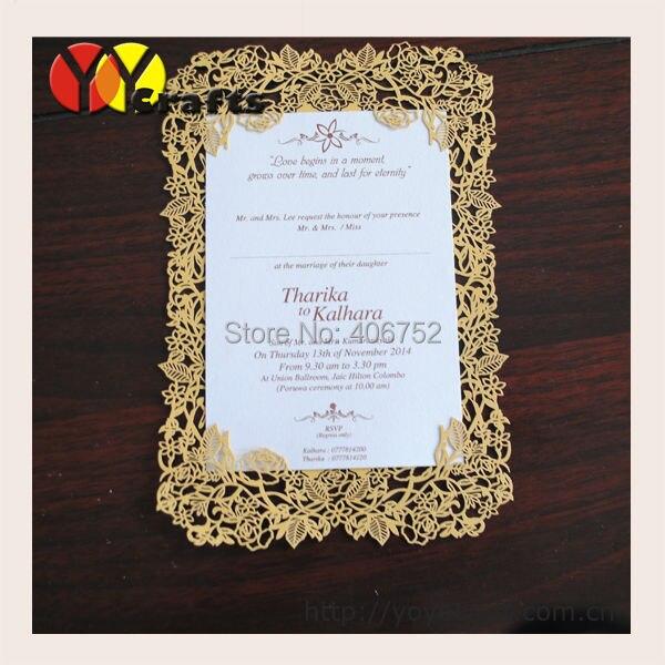 beautiful flower rose laser cut simple unique wedding invitation