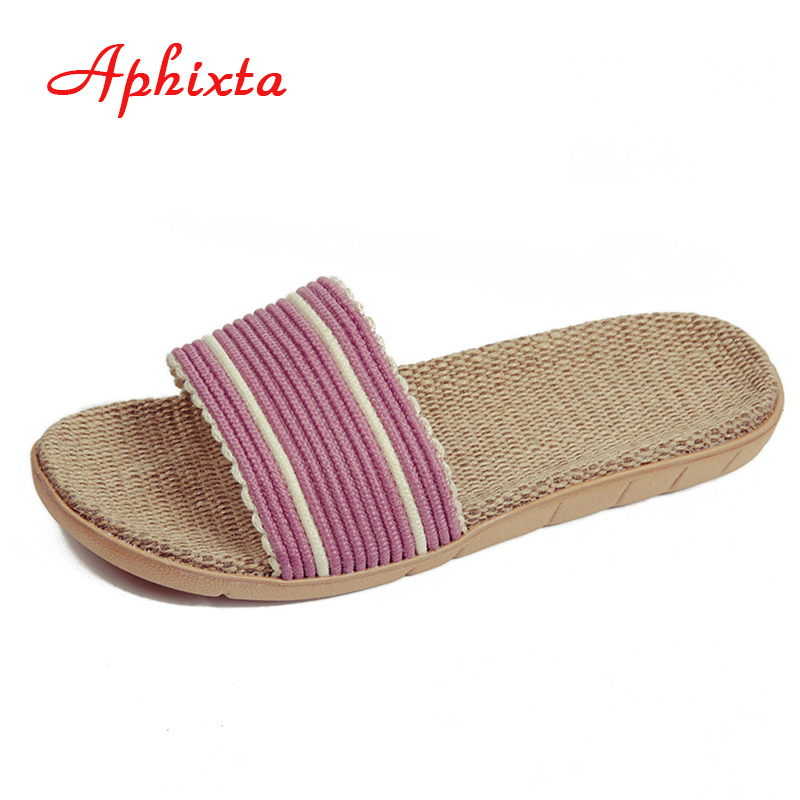 Forår sommer indendørs slipper anti slip linned hjemme sko kvinder mænd flad sko sved-absorberende åndbar blød gulv slipper