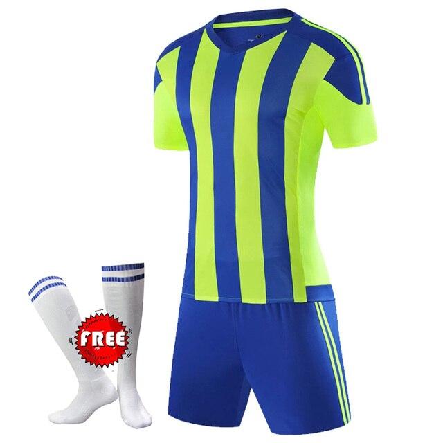 d84a99553 Free Football Socks Kids Football Kits Boys Soccer Sets Jersey Uniforms  Child Futbol Sport Training Running Suits Short Sleeved