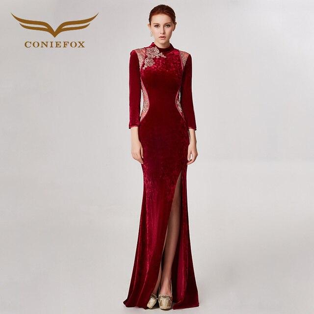 Coniefox 32558 красный с круглым вырезом Модные пикантные Русалка Дамы ретро элегантность аппликации платья для выпускного вечера Вечерние вечернее платье с длинным 2018
