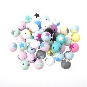 Image 1 - 50 шт Круглые Звездные силиконовые бусины 15 мм режущие шарики для зубов очищающий силиконовый Прорезыватель для зубов ожерелье украшение из бисера