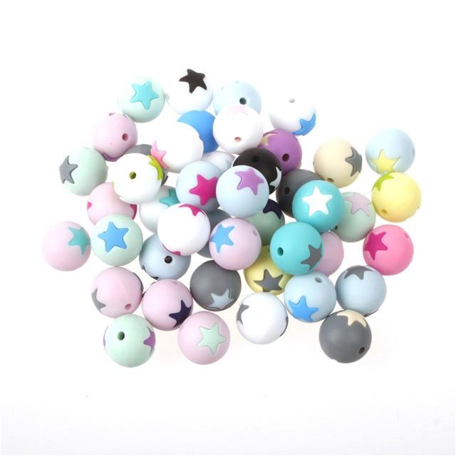 50 шт Круглые Звездные силиконовые бусины 15 мм режущие шарики для зубов очищающий силиконовый Прорезыватель для зубов ожерелье украшение из бисера