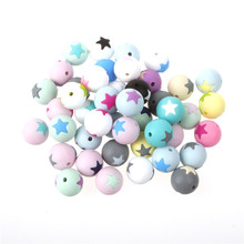 50pc Round Star Silicone Beads 15MM Teething Chew Balls Teeth Cleansing Nursing Silicon Teether Necklace Decoration Bead