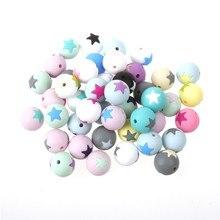 50pc Runde Stern Silikon Perlen 15MM Zahnen Kauen Kugeln Zähne Reinigung Pflege Silicon Beißring Halskette Dekoration Perle