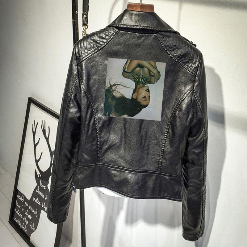2019 Ariana Grande PU imprimé Logo mode Ariana Grande vestes noir/rose femmes Streetwear veste en cuir.