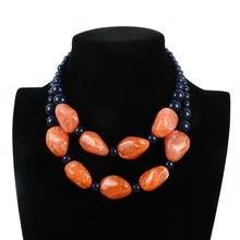 Модное женское многослойное ожерелье с бусинами и 2 вида цветов