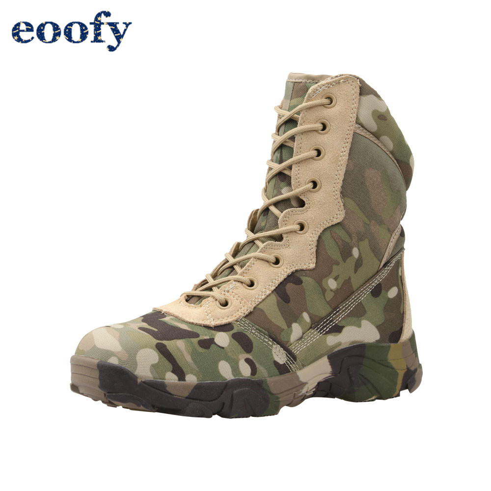 Jungle camouflage boots military combat boots Lightweight Camo Hiking Motorcycle Shoes for Men/women With Zipper Breathable