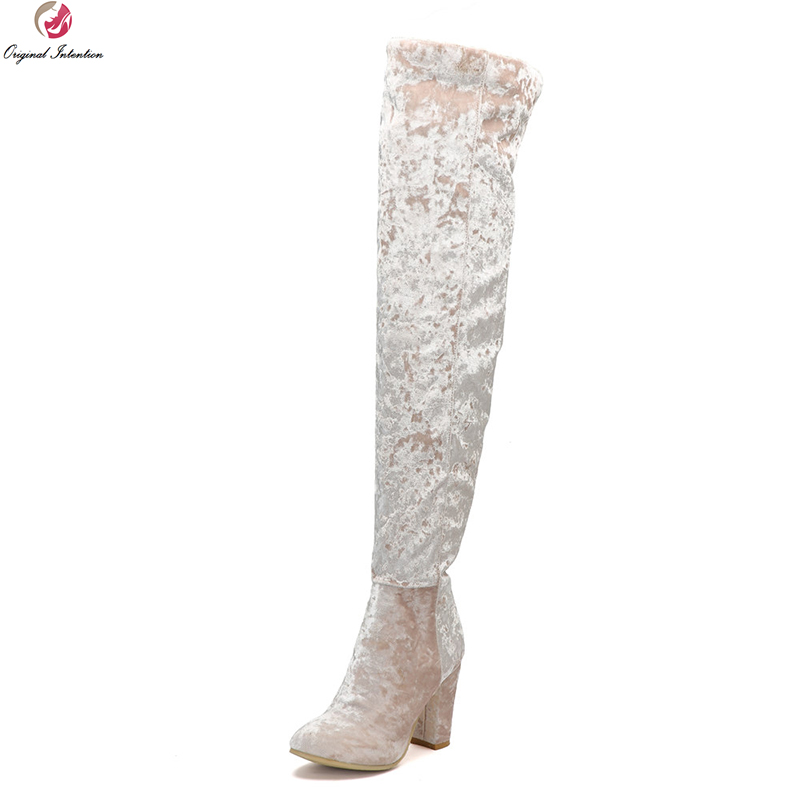 Здесь можно купить  Original Intention Sexy Women Over-the-Knee Boots Faux Suede Round Toe Chunky Heels Boots Pink Shoes Woman Plus US Size 4-15  Обувь