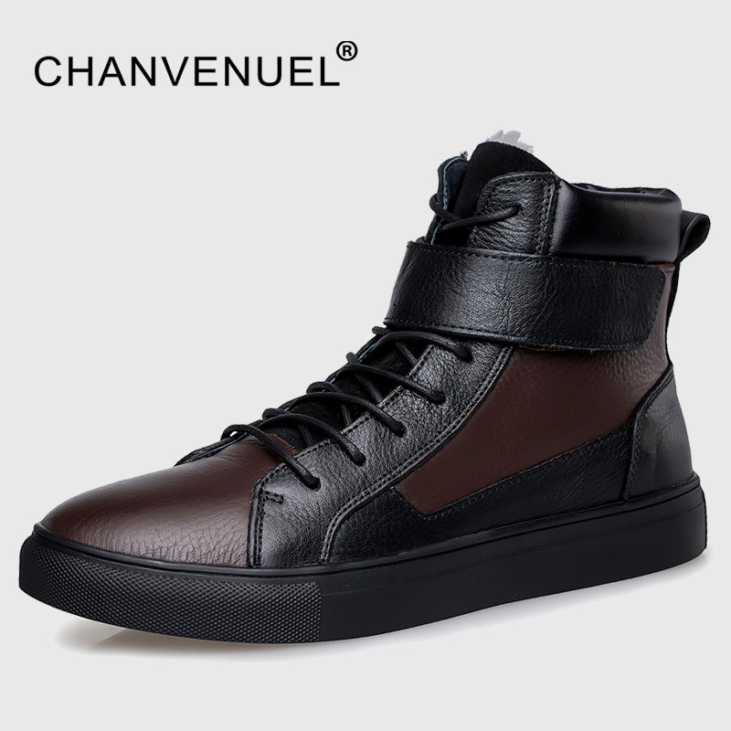 Winter Fur Warm High Top Men's Casual Shoes Cow Leather Top Quality Plush Flats Shoes Black Lace Up Shoes For Men Big Size 12 2018 new fashion luxury brand men loafers winter fur warm sneakers genuine leather high quality lace up black casual shoes 38 44
