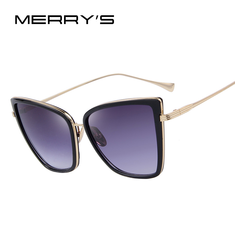 MERRY'S Fashion Dames Zonnebril Cat Mirror Glasses Metal Cat Eye Zonnebril Dames Merk Designer Hoge kwaliteit Square S'8222