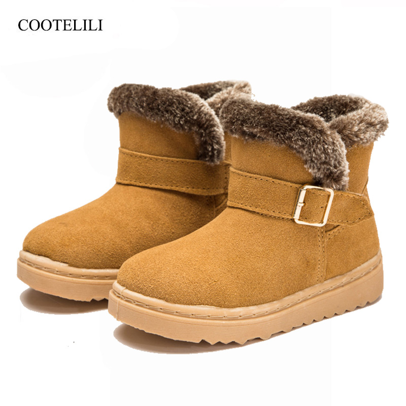 26-36 Fashion Genuine Leather Kids Shoes For Girl Boys Winter Snow Boots Buckle Toddler Children Ankle Boots Rubber Shoes ...