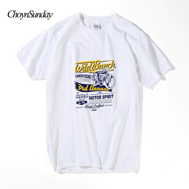 Choyn Sunday Motor Spirit T-shirts Losse Korte Mouw Zomer Streetwear - Herenkleding