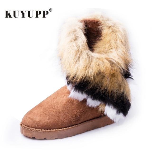 KUYUPP Для женщин без каблука зимние сапоги, ботильоны ботинки на меху зимние теплые сапожки с круглым носком из флока женская обувь из кожи dx910