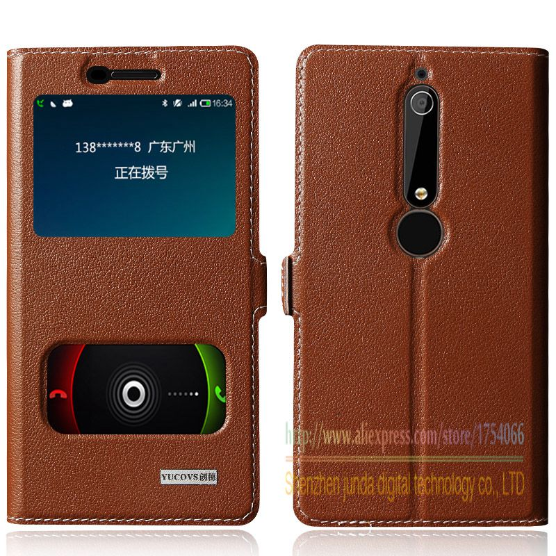 Top Quality Natural Genuine Leather Window Magnet Flip Stand Cover Case For Nokia 6 Nokia6 2018 5.5 inch Luxury Mobile Phone