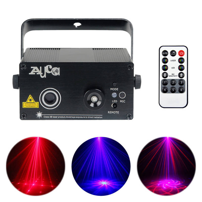 AUCD Mini 20 RB Patterns Laser Crossover Effect Projector 3W Blue LED Mixing Effect DJ KTV Show Home Party Stage Lighting Z20RB aucd mini remote 24 patterns rg red green laser effect projector 3w blue led light dj home party wedding stage lighting z24rg