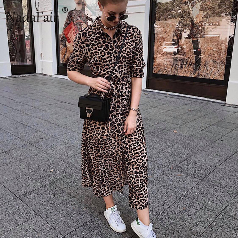 f453dbbd5d9f Nadafair animal leopard print dress elegant vestidos women long sleeve turn  down collar sash chiffon vintage leopard midi dress -in Dresses from Women's  ...