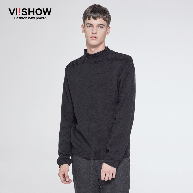 VIISHOW Mens Sweater Pullover Men Casual Black Turtleneck Sweater ...