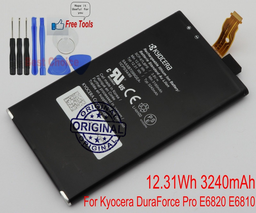 US $19 79 |For 5 inch Kyocera DuraForce Pro E6820 E6810 Battery Genuine SCP  67LBPS 3240mAh Battery New + Free Tools-in Mobile Phone Batteries from