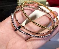 Real 100% 925 Sterling Silver slim bead ball bracelet thin ball bangle bracelete masculino luxury brand replica jewelry female