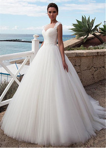 Image 3 - Stunning Tulle Jewel Neckline A Line Beach Wedding Dress With Beaded Lace Appliques Crystals Belt Bridal Gowns