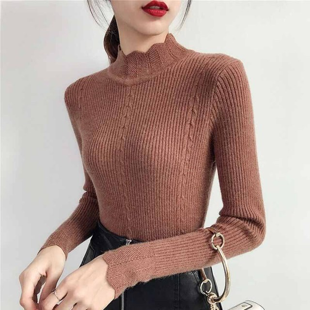 becef97ef48a69 2018 Women Sweater Pullover Basic Rib Knitted Cotton Tops Solid Crew Neck Essential  Jumper Long Sleeve Sweaters With Thumb Hole
