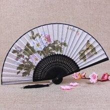Классическое традиционное ремесло китайский веер живопись декоративные женские ручные вееры цветы бамбуковый Шелковый складной веер подарок