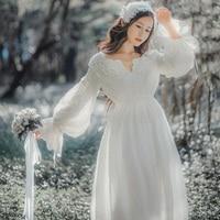 Lolita Vintage Long Dress White Princess Sleepwear Cotton Embroidery Elegant Women Nightgowns Long Nightdress For Girls