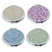 Portable Mini Makeup Mirror Compact Pocket Mirror Double-Sided Folding Cosmetic Mirror Female Gifts With flowing sparkling sand недорого