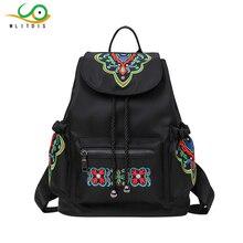 Mlitdis цветок Вышивка рюкзак женщин для школы большое ведро рюкзак женский черный Рюкзак Путешествия Сумка drawstring