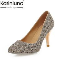 KARINLUNA Large Size 34 43 Office Lady Bling Upper Thin High Heels Woman Shoes Sexy Gold