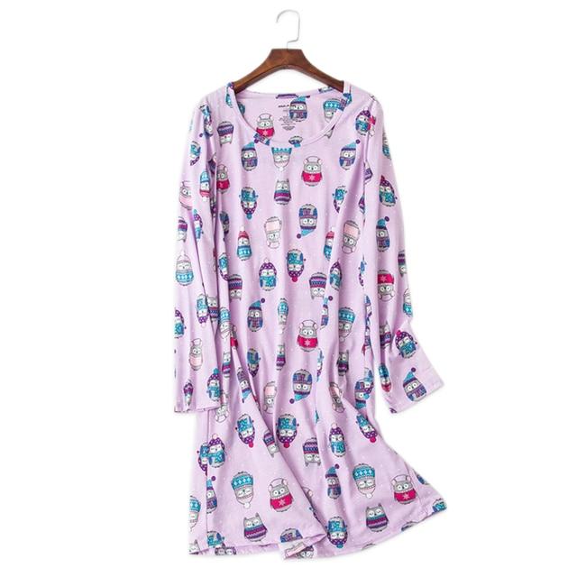 887d9bbb3d Sexy Purple owl cartoon 100% cotton nightdress women nightgowns long sleeves  women sleepdress pyjamas autumn Plus size