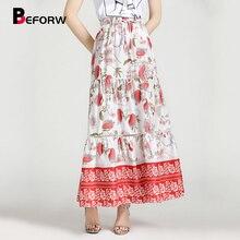 BEFORW 2019 Floral Print Boho Long Skirt Women High Waist Lace Up Beach Summer Maxi Skirts Ladies Casual Skirt