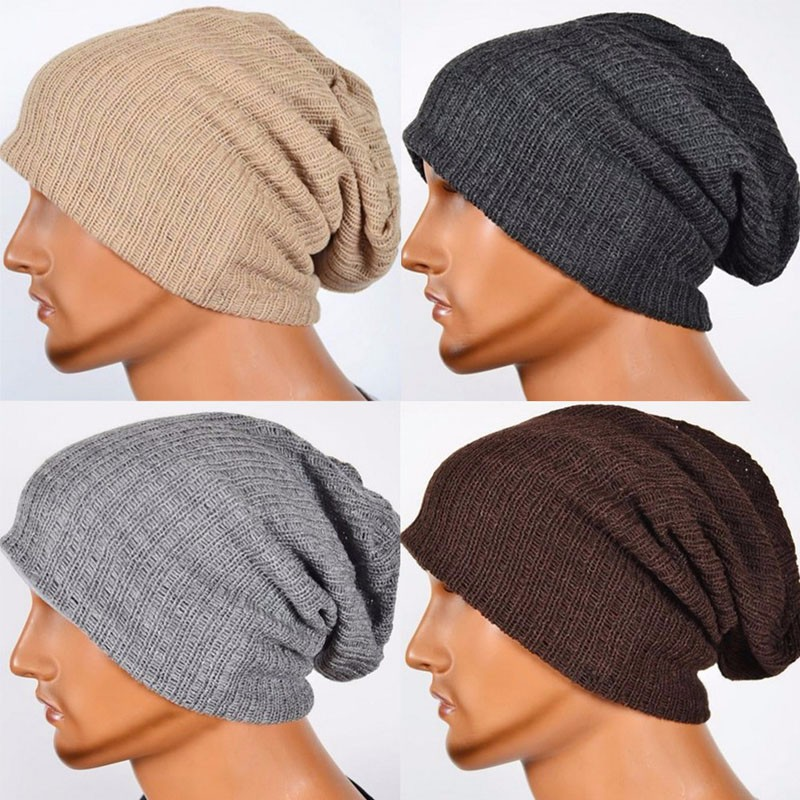 Men's Knit Baggy Beanie Oversize Winter Hat Ski Slouchy Cap Skull F05
