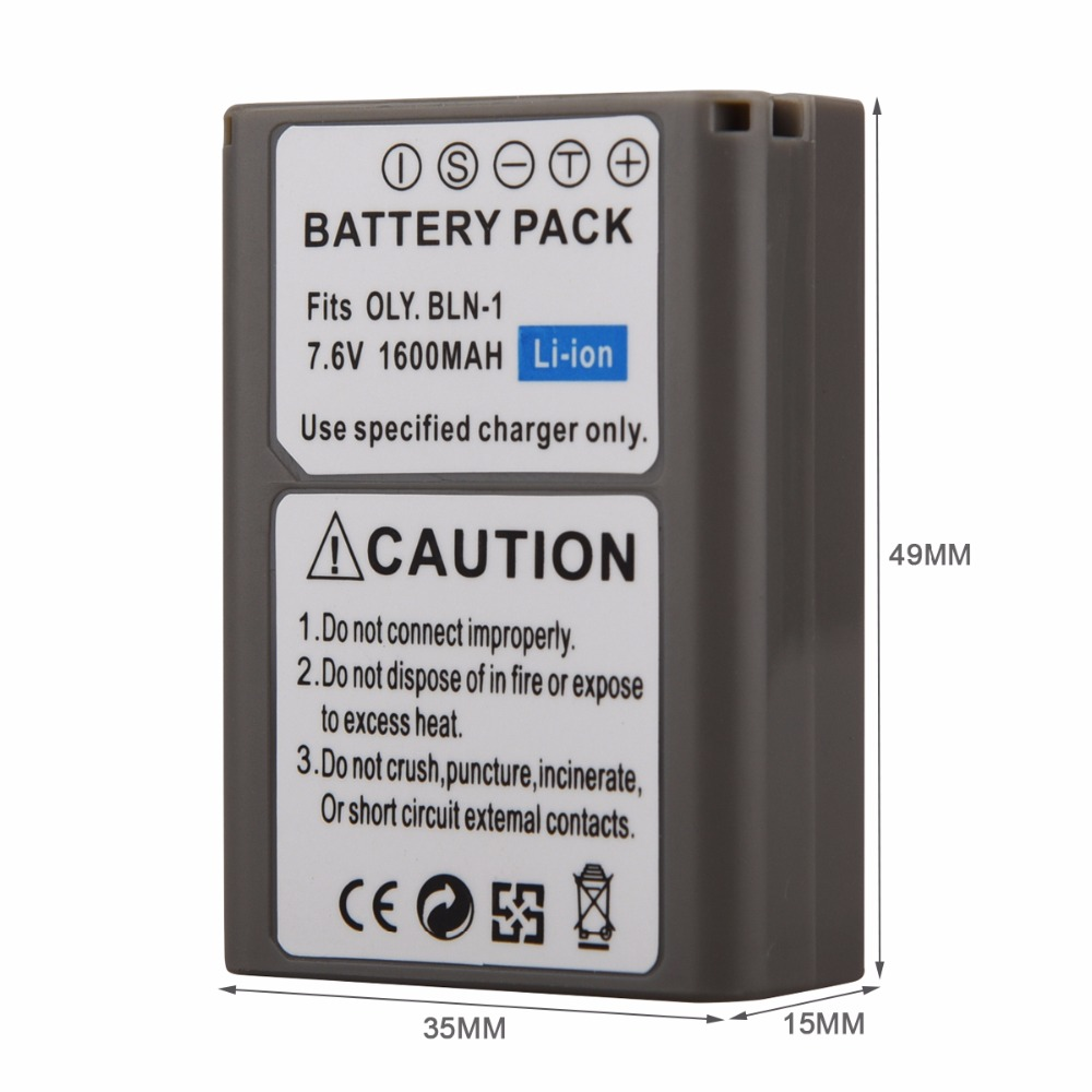 1PCS 1600mAh BLN-1 PS-BLN1 Digital Camera Battery For OLYMPUS PS-BLN1 BLN-1 Rechargeable Battery for E-M5 EM5 OMD OM-D Battery