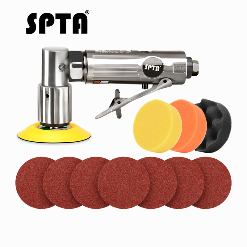 SPTA 11Pcs 3inch 80mm New Random Air Palm Sander Car Polisher Buffer Pad Sanding Sets For Car Polishing Buffing And Do Waxing