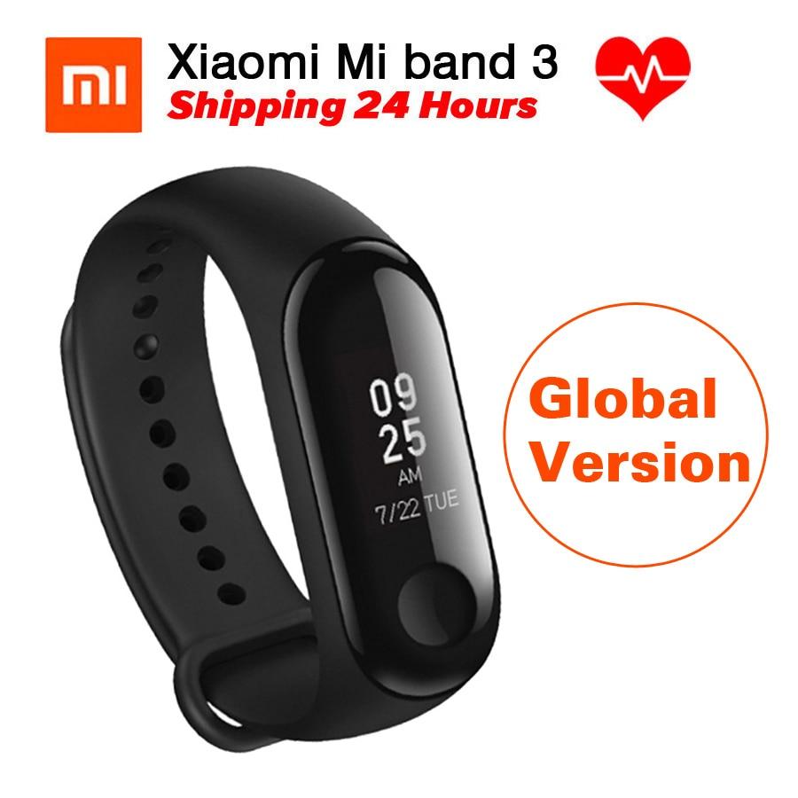 [Versión Global] Original Xiao mi banda 3 mi banda 3 Monitor de ritmo cardíaco Fitness Tracker 0,78'' pantalla OLED para Android IOS