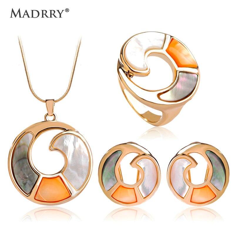 Madrry Alta Qualidade Rodada Shell Conjuntos de Jóias Colares & Brincos & Anel de Casamento Dubai Design Clássico Bijoux Pendientes brincos
