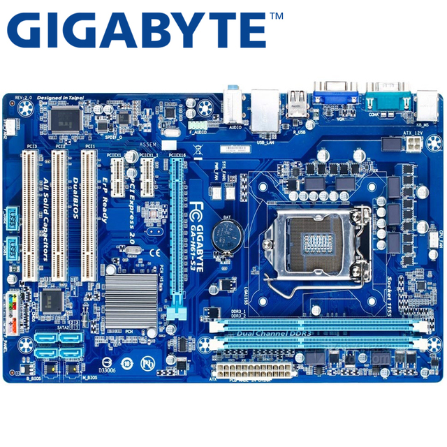 GIGABYTE GA-H61-S3 Desktop Motherboard H61 Socket LGA 1155 i3 i5 i7 DDR3 16G ATX Original H61-S3 Used Mainboard On Sale
