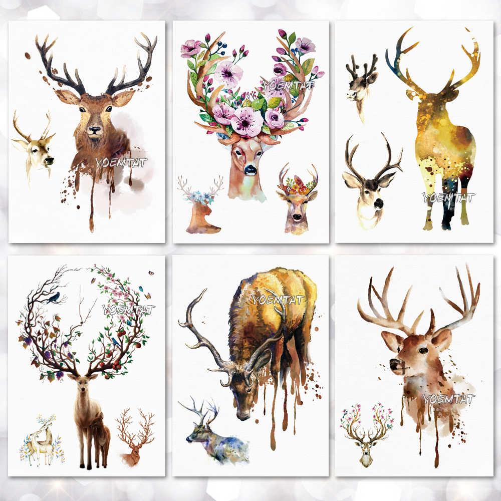5e7f5b3e4b0d0 Tree And Deer Temporary Tattoo Stickers Waterproof Women Fake Hand Animal  Tattoos Adult Men Body Art